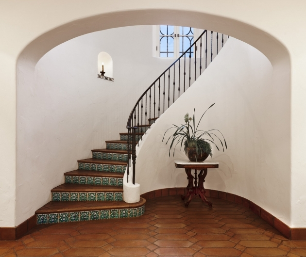 Tiles On Stairs Wall Glamorous Saltillo Tile Mode Santa Barbara Mediterranean Staircase Inspiration Picture 13