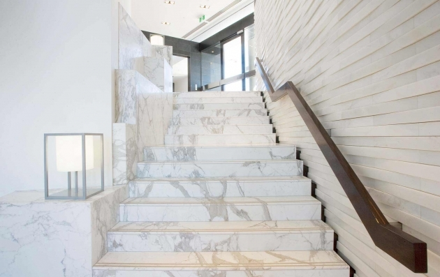 Tiles On Stairs Wall White Marble Feature Wall And Calcutta Photo 83
