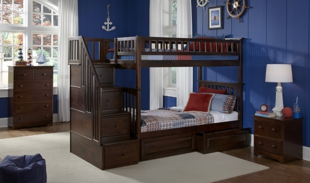 Twin Over Twin Bunk Bed Blue Nautical Kids Boys Room Features Dark Espresso With Drawer Twin Bunk Beds With Stairs Pic 28