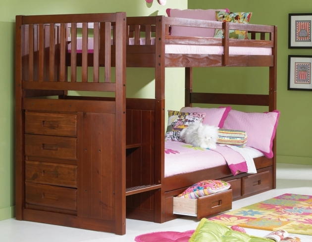 Twin Over Twin Bunk Bed Furniture Merlot Stair Stepper Twin Bunk Beds With Stairs Photo 00