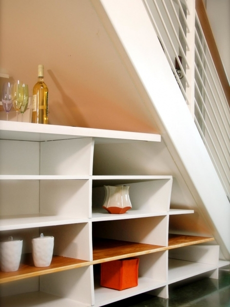 Under Stairs Storage Plans White Brown Wood Glass Modern Design Creative Shelves Interior Pictures 35