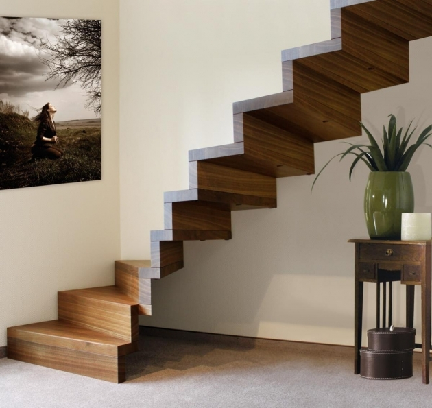 Unique Wooden Staircase Designs With Narrow Step Plus Painting On Wall And Chest Of Drawer Photo 84