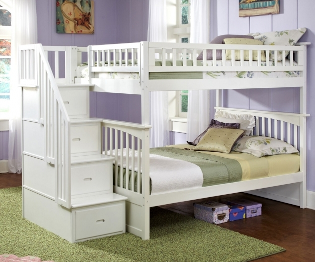 White Bunk Beds Stairs Drawers Wooden Bed Frames Photo 83