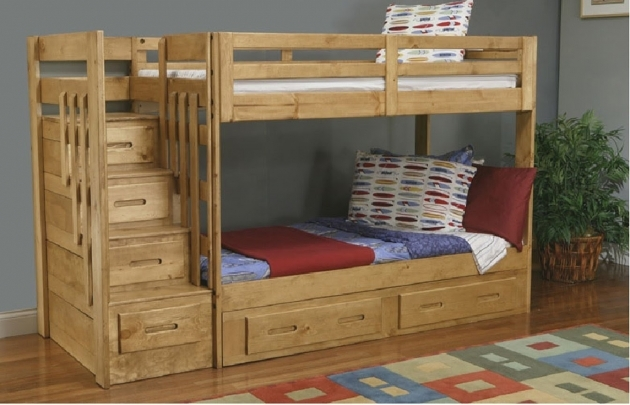 Wood Bunk Beds Stairs Drawers Furniture Picture 00