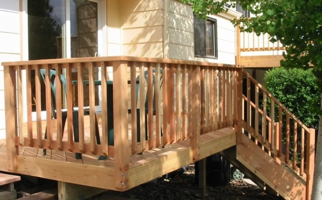 Wood Railing Outdoor Building Solid Wood Deck Railings Pic 30