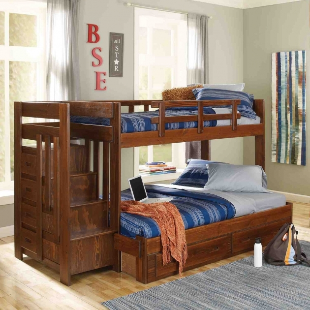 Woodcrest Heartland Twin Over Twin Stairway Twin Bunk Beds With Stairs Pictures 28