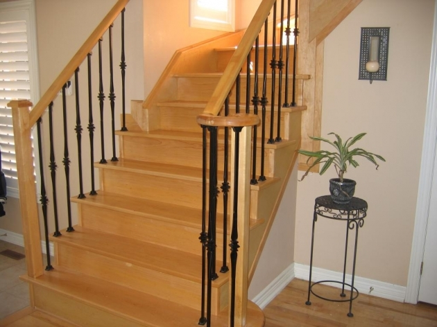 Wooden Staircase Designs And With Wrought Iron Railing Decoration  Picture 28