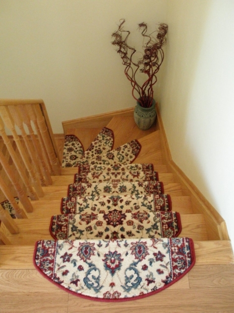 Carpet Stair Treads Design With Brown Oak Wooden Materials Designed With Wooden Railing Images 10