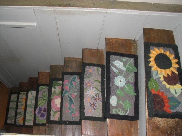 Carpet Stair Treads Flower Motif Photo 94