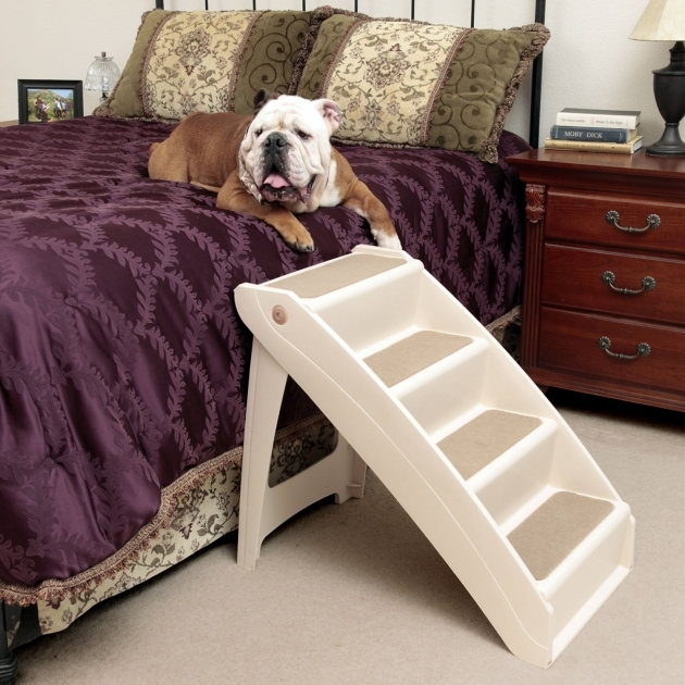 Carpeted Wood Dog Stairs For Bed Picture 66