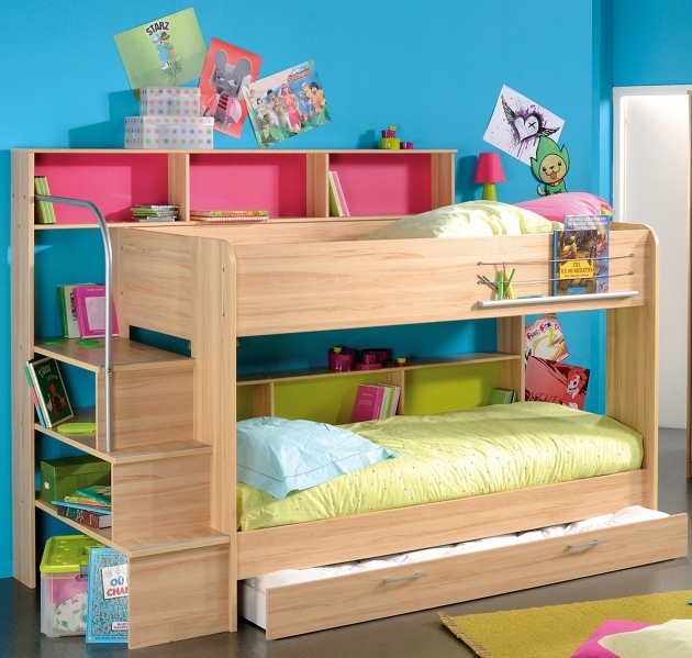 Childrens Cheap Bunk Beds With Stairs And Trundle Image 25