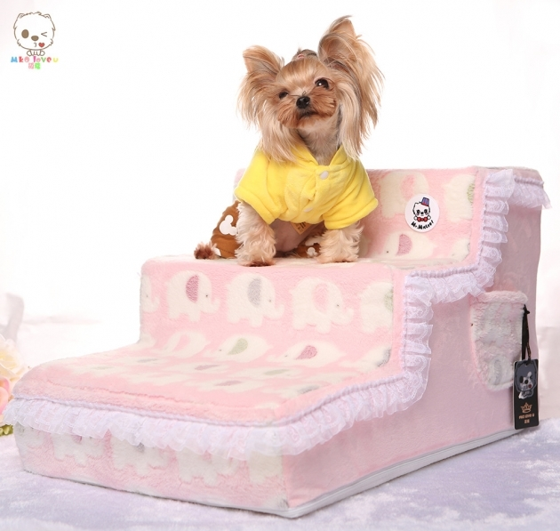 Cute Fleece Dog Stairs For Bed For Small  Images 73