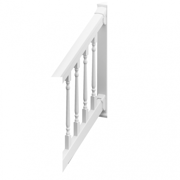 DeluxeRail Colonial Spindles Stair White Vinyl Stair Railing Kits Images 71