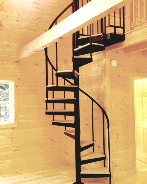 Designing Your Own Tiny House Spiral Staircase Wood Treads Alum HR Continous Sleeves Pictures 15