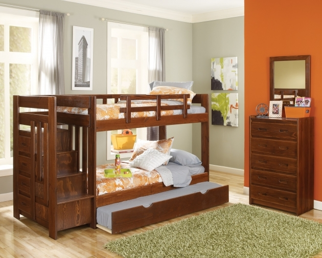Farmhouse Varnished Acacia Wood Toddler Bunk Beds With Stairs Design Kids Room Image 28