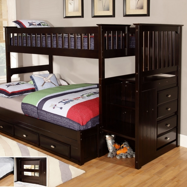 Full Over Queen Bunk Bed With Stairs For Bedroom Photo 40