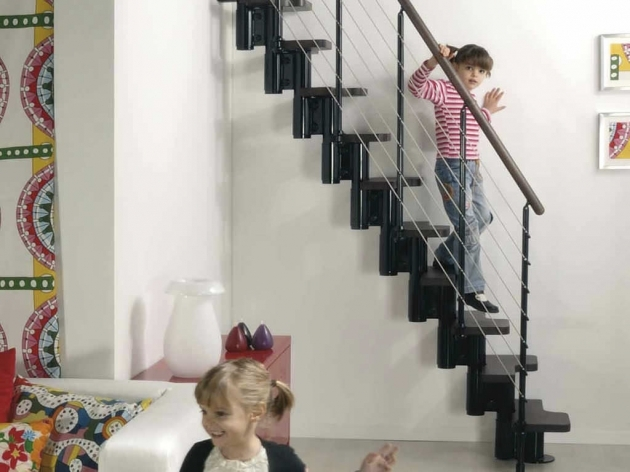 Interior Interesting Black Stair Design For Small Spaces With Brown Handrail And White Wall Chic Images 17