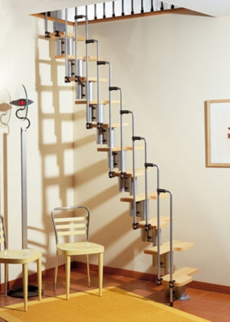 Loft Straight Staircase With Wooden Riser Also Unique Metal Handrail Stair Design For Small Spaces Image 73