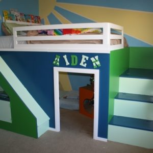 Playhouse Loft Bed with Stairs