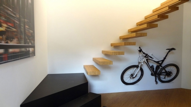 Small Room Wall Mounted Bike Hook Under Stairs Without Railings Design And Wooden Flooring Photo 89