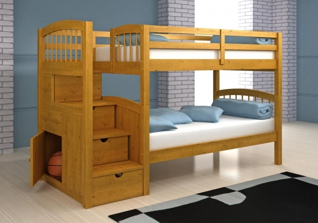 Solid Wood Full Over Queen Bunk Bed With Stairs Picture 27