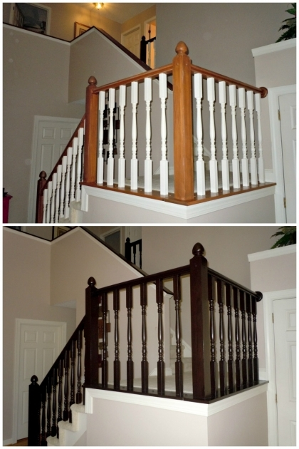 Staircase Railing Remodel After And Before Oak Stair Banister In Java Using Gel Stain Pic 38