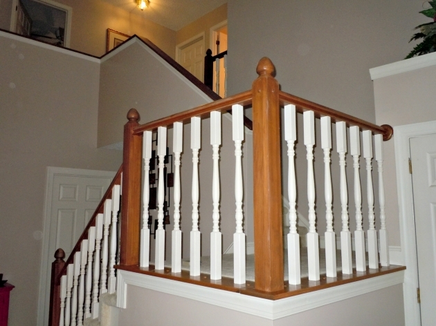 Staircase Railing Remodel Builder Grade Oak Stair Railing Makeover Using Gel Stain Photo 03