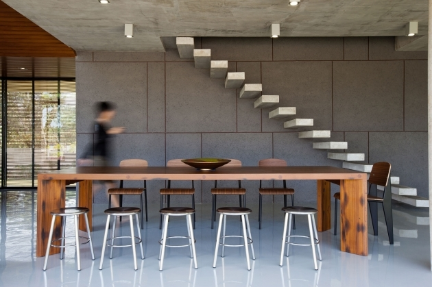 Stairs Without Railing With Dining Room With Wooden Table 5 Chairs And Bar Stools Images 32