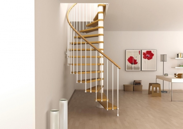 Toscana Spiral Staircase Stair Design For Small House With Wooden Steps And Handling With White Baluster Photos 05