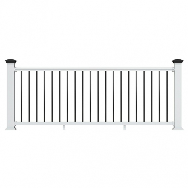 Vinyl Stair Railing Kits Traditional White 36 In X 6775 With Black Pictures 72