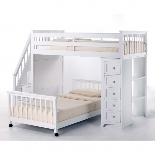 White Stained Wooden Twin Loft Bed Full Over Queen Bunk Bed With Stairs And Dresser Image 86