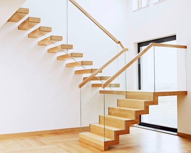 Wooden Floating Stair Design For Small House Photos 99
