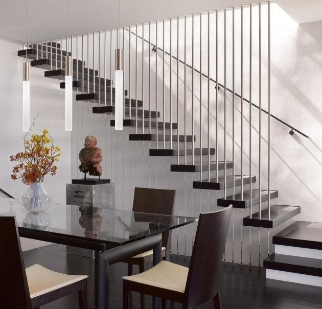 Amazing Modern Stair Rails Contemporary Stairs Design To Ceiling Tube Railing In Chrome Accent Pictures 55