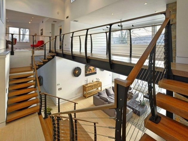 Contemporary Cable Wood Modern Stair Rails Image 09