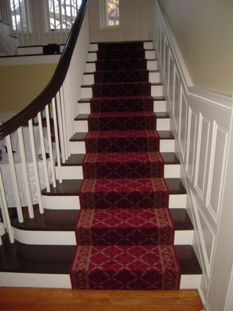 Maroon Carpet Runners For Stairs With Molding And Brown Pictures 84