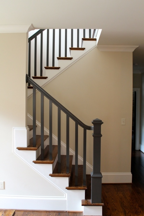Painting Stair Railing Ideas Black Pine Studio Dark Painted Stair Rail
