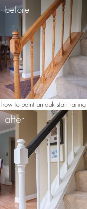 Painting Stair Railing Ideas Oak Stair Railing Black And White