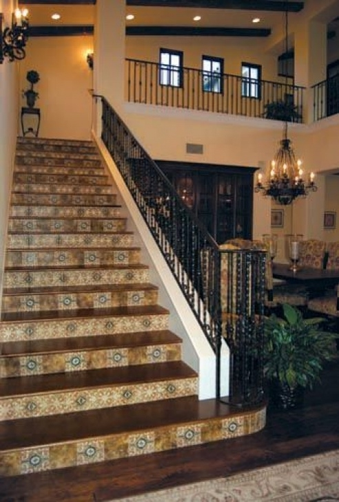 Decorative Tile For Stair Risers Custom Tile Gallery | Stairway Design Ideas | Travertine Photo 797
