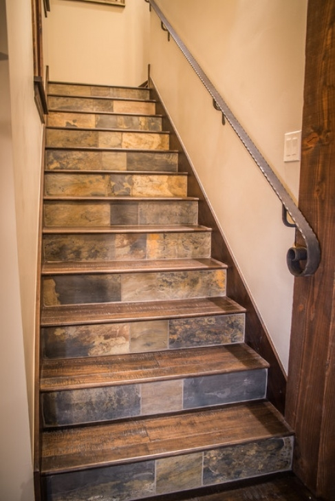 Decorative Tile For Stair Risers Slate Tile Stair Risers - Rustic - Staircase - Other - By Photo 493