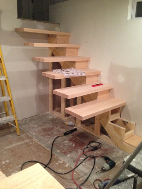 Floating Stair Tread Brackets How To Build Floating Stairs Step By Step - Handy Father, Llc Photo 023