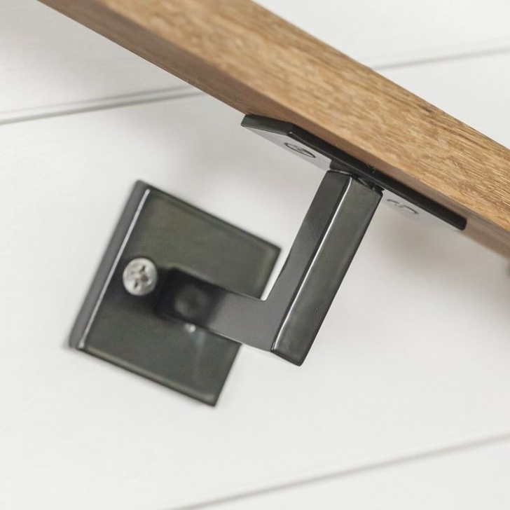 """Floating Staircase Brackets Minimal Handrail Bracket - 1/2"""" Solid Steel Square Bar Picture 779"""