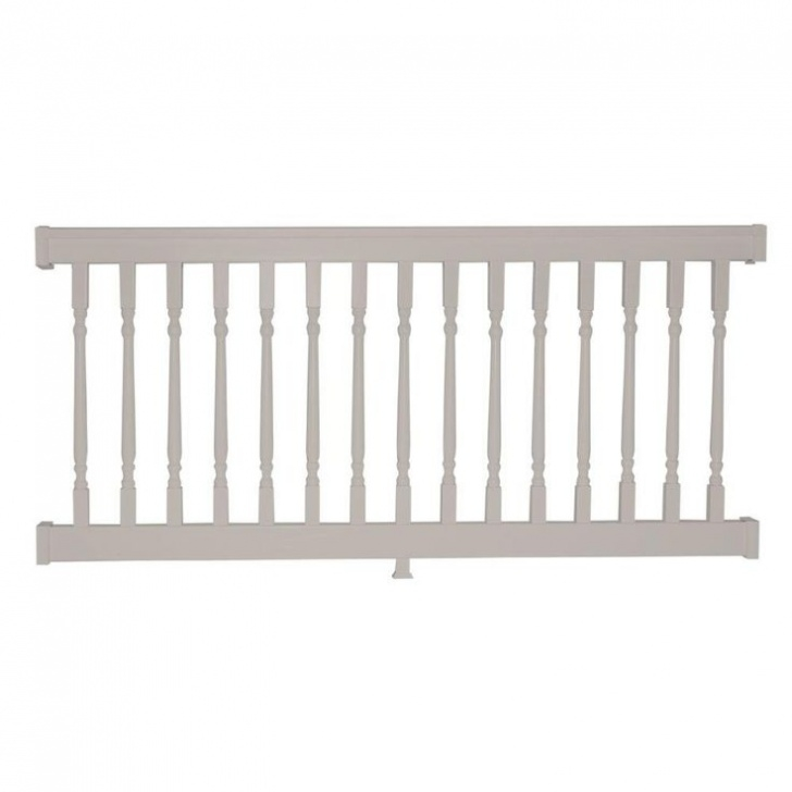 Home Depot White Vinyl Stair Railing Weatherables Delray 3 Ft. H X 6 Ft. W Vinyl Tan Railing Photo 177