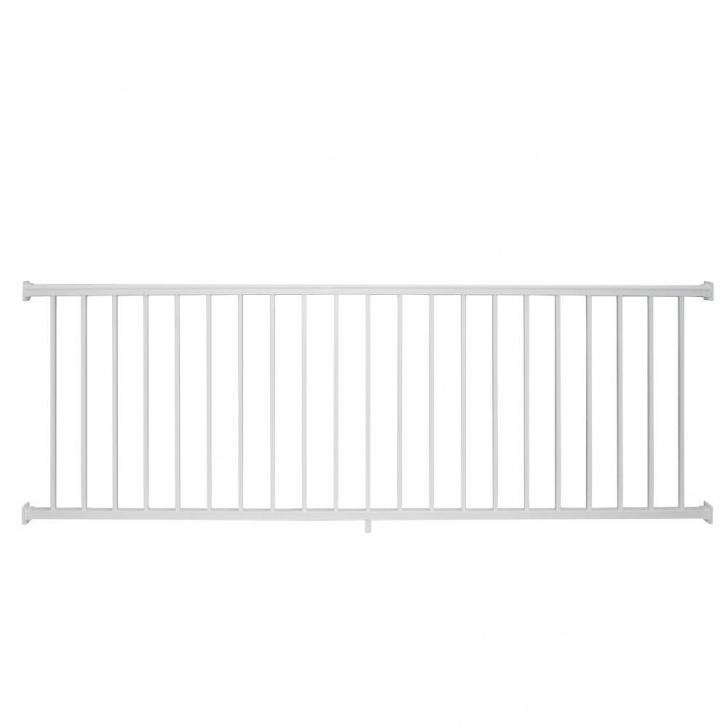 Home Depot White Vinyl Stair Railing Weatherables Stanford 36 In. H X 96 In. W Textured White Photo 270