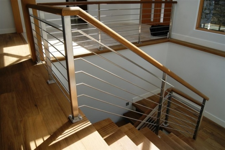 Internal Steel Staircase Oak & Stainless Steel Interior Railing - Contemporary Picture 071