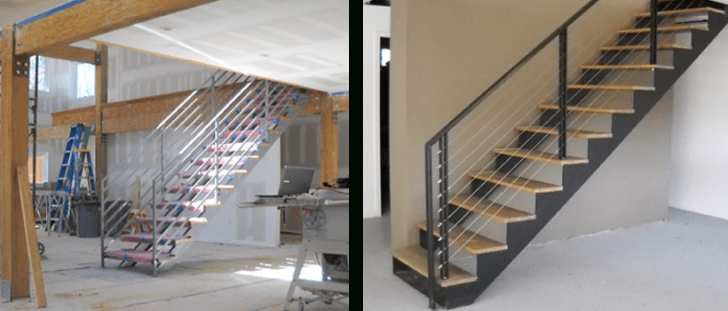 Metal Stair Dimensions Double Stringer Steel Staircases With Wood Treads In Nyc Picture 113
