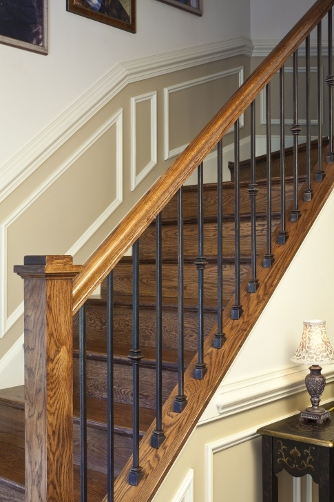 Oak Stair Spindles Custom Fabricated Wrought Iron Spindles With Stained Rail Photo 168