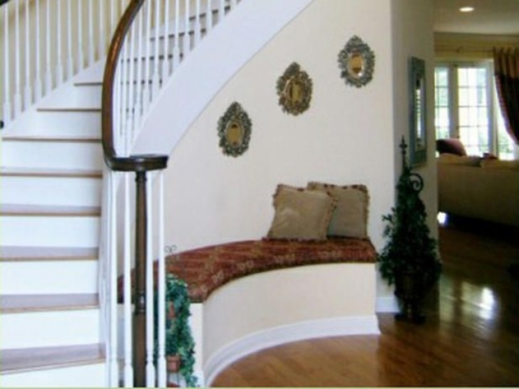 Pictures Of Stair Bench And Storage Foyer Help | Foyer Decorating, Curved Walls, Staircase Photo 501