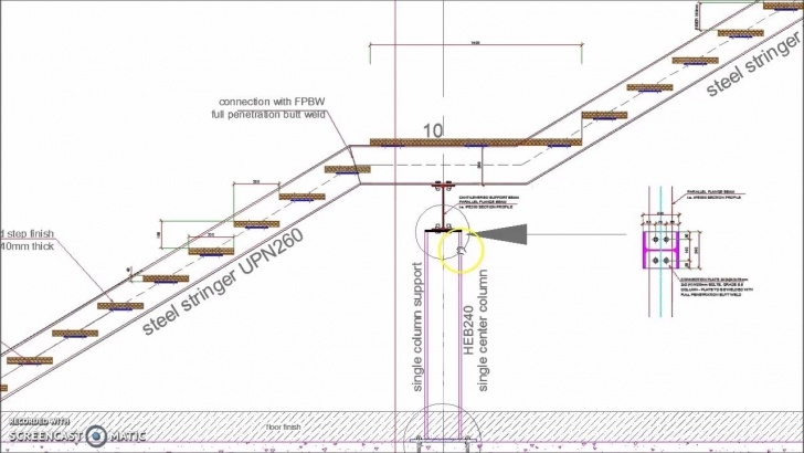 Small Stairs Drawing Straight Single Flight Steel Staircase Detail - Youtube Photo 006