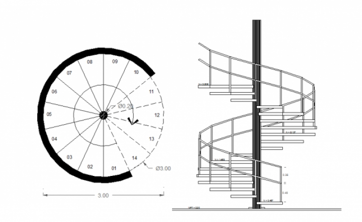 Spiral Staircase Standards Dimensions Layout Plan With Elevation Of A Spiral Staircase Image 985