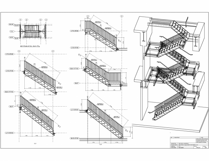 Steel Staircase Section Advanced Detailing Corp. - Steel Stairs Shop Drawings Photo 059